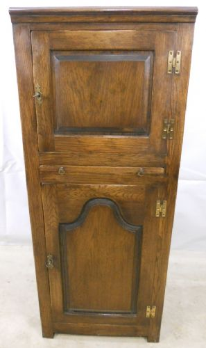 Antique Style Tall Oak Double Cupboard by Reprodux